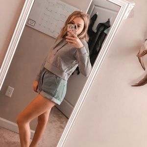Grey Cropped Forever 21 Hoodie